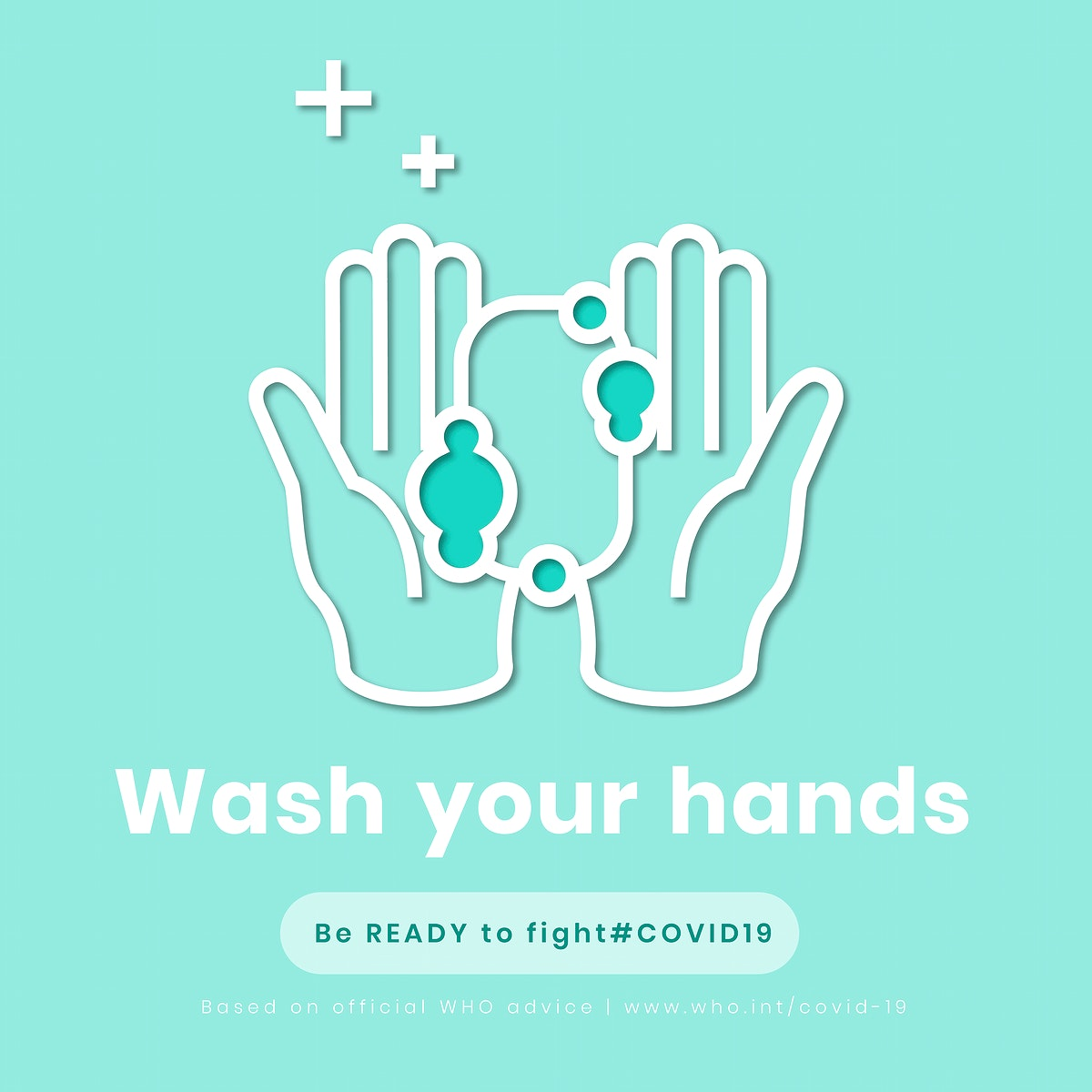 Wash your hands, be ready to fight covid-19 template vector