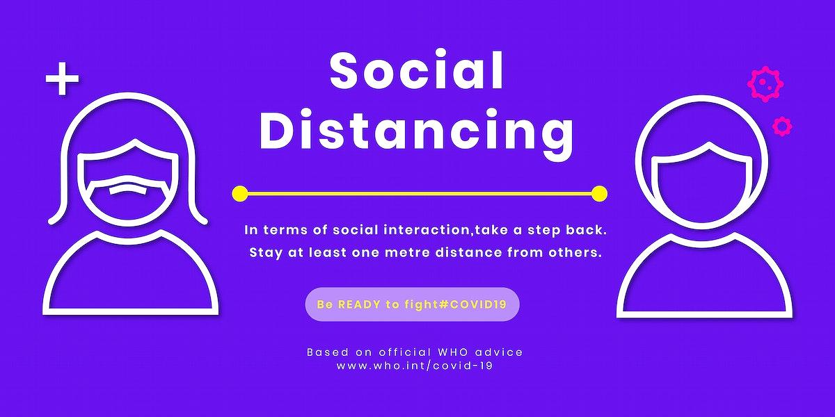 Coronavirus social distancing template vector