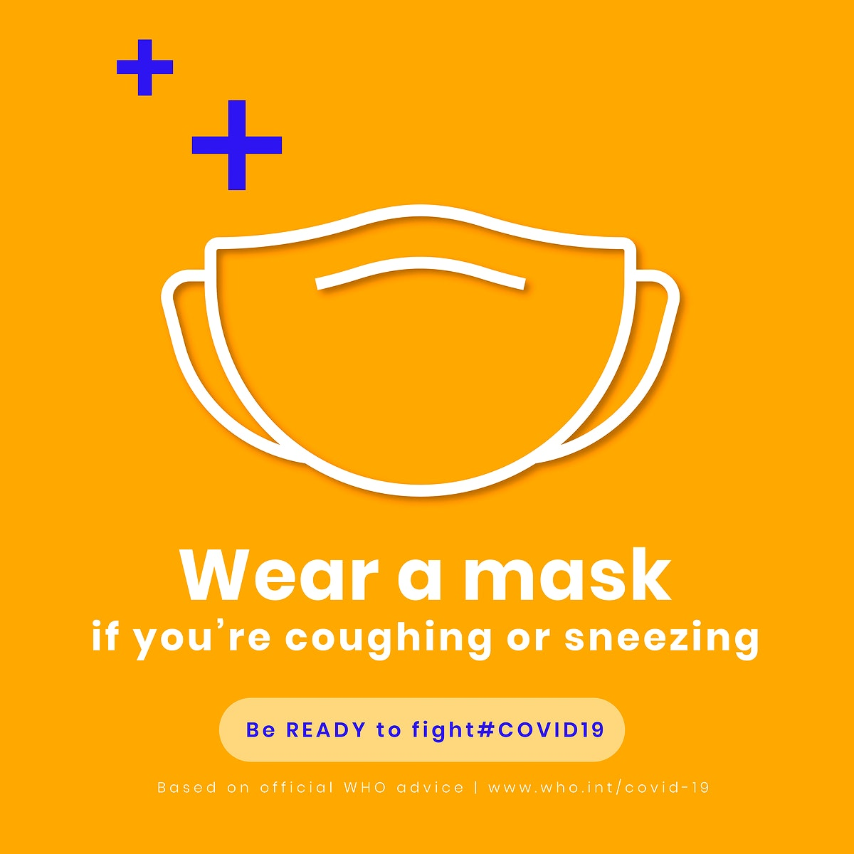 Wear a mask to avoid coronavirus from entering your body social media template vector