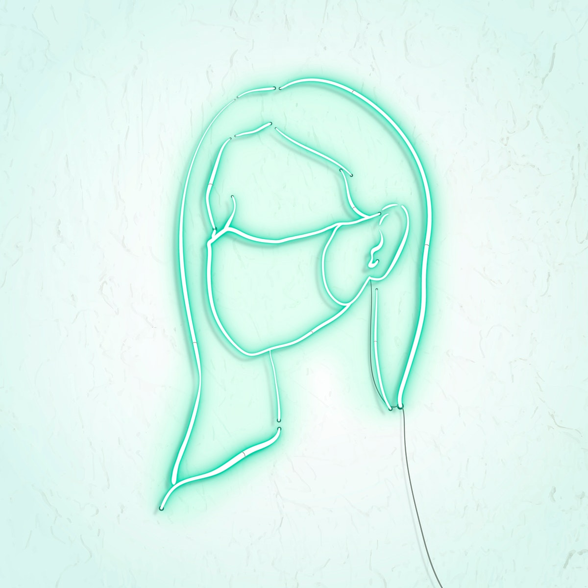 Woman wearing a face mask to prevent coronavirus pandemic neon character vector