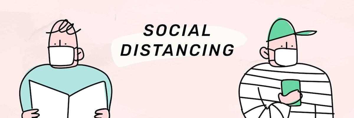 Social distancing coronavirus pandemic social template vector