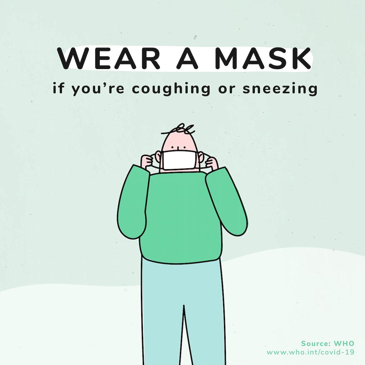 Wear a mask coronavirus pandemic social template source WHO vector
