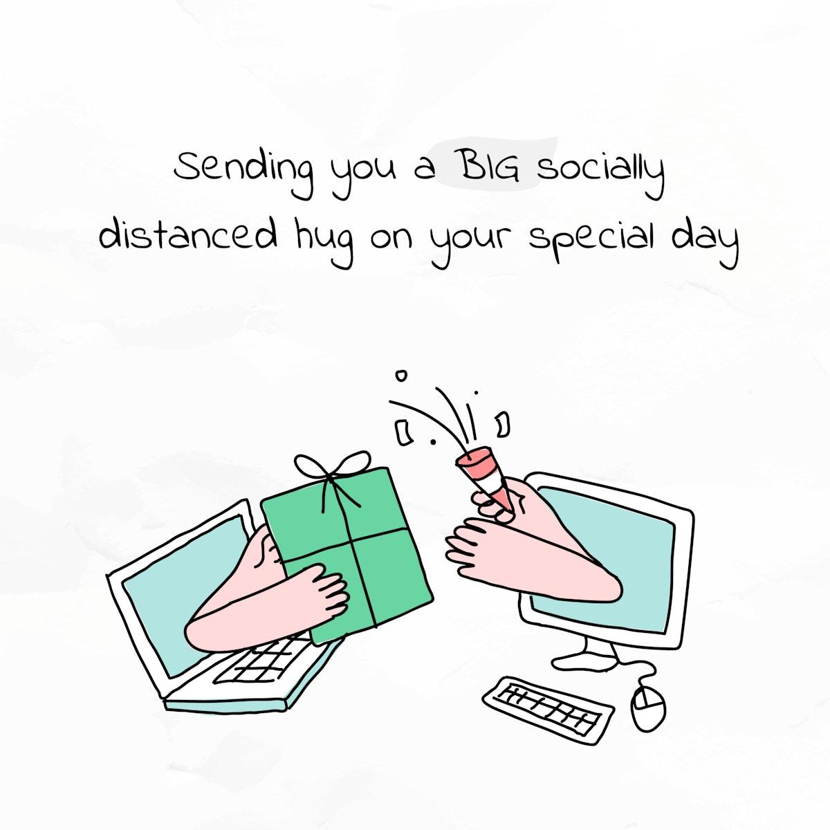 Christmas greeting COVID-19 version cute doodle social media post