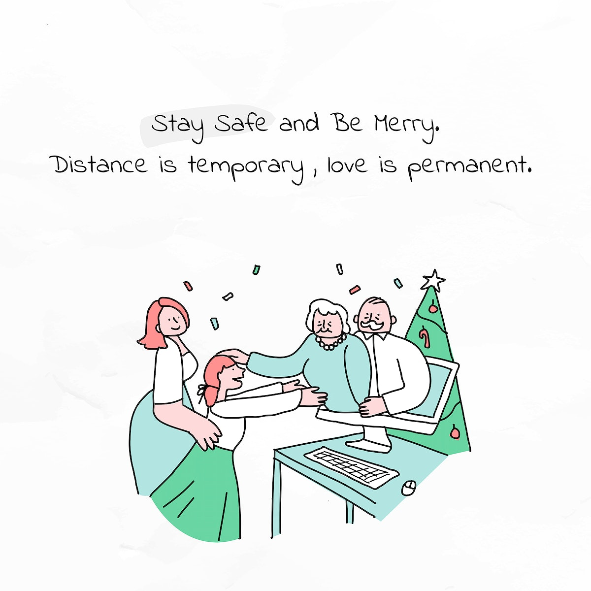 Stay safe and be merry psd Christmas greeting poster