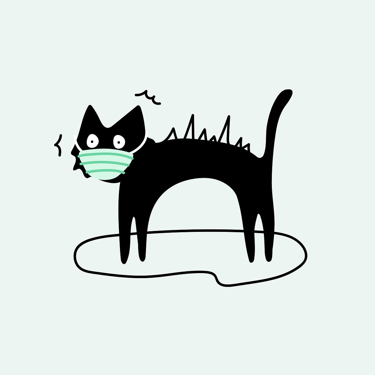 Black cat wearing a surgical mask vector