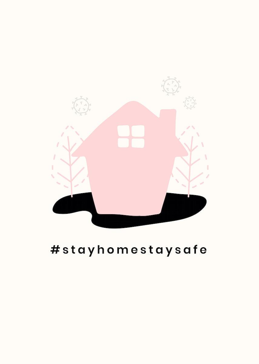 Stay home coronavirus prevention poster vector