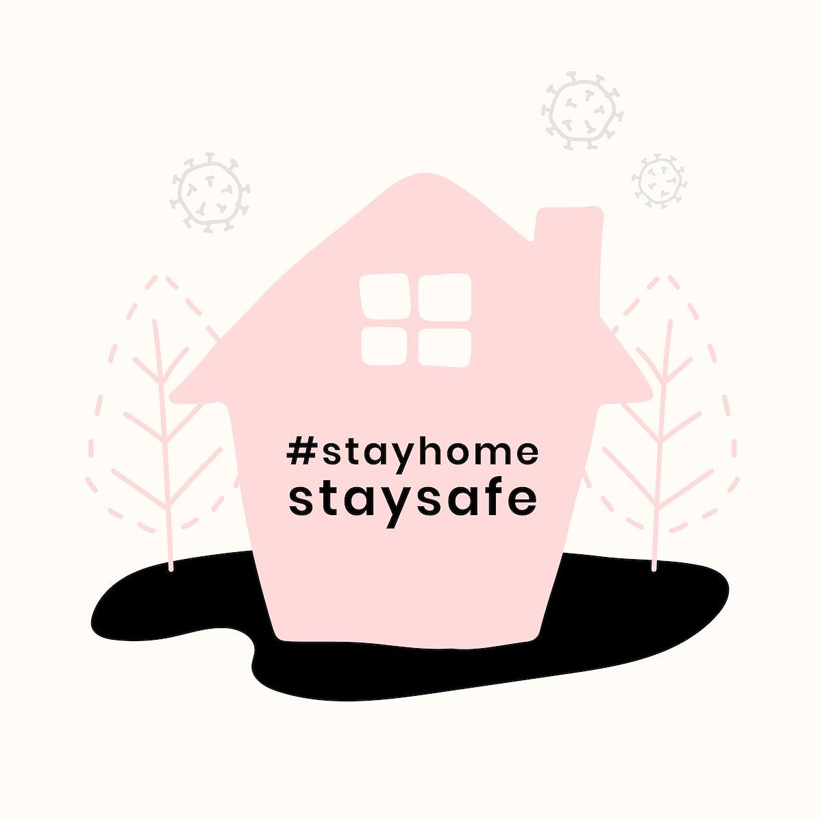 Stay home coronavirus prevention vector