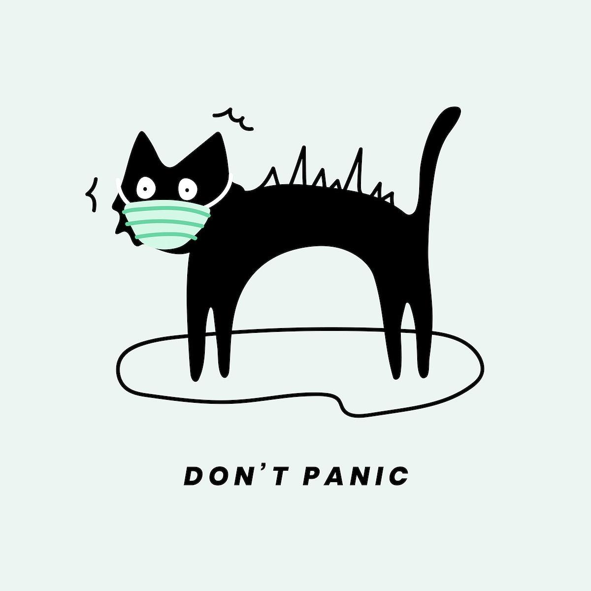 Don't panic black cat social template vector