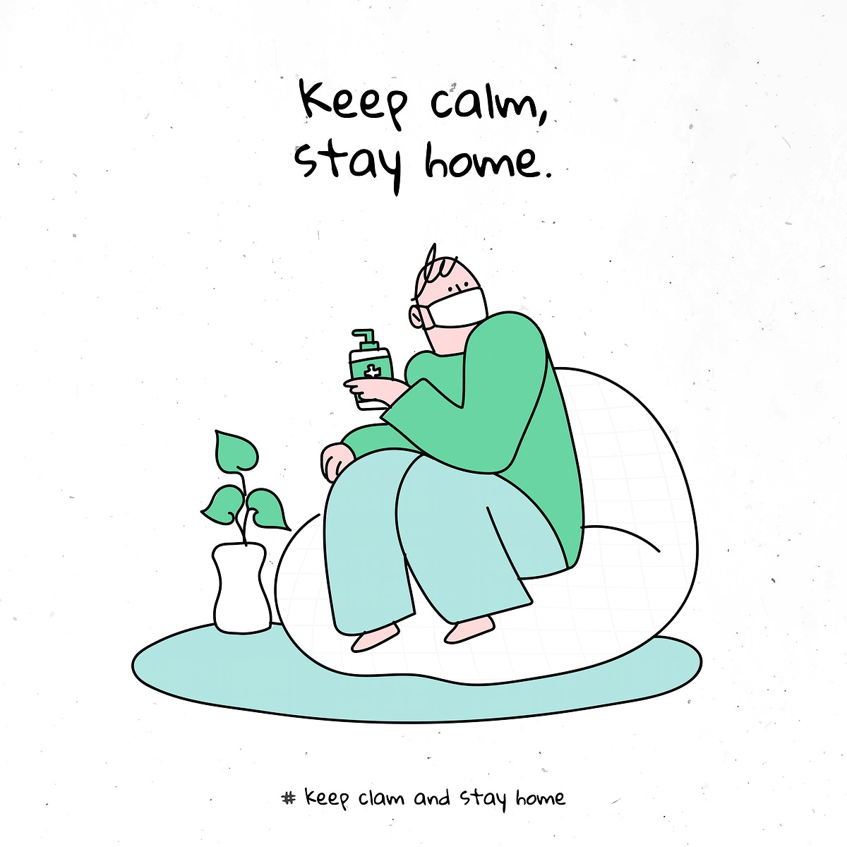 Keep calm, stay home coronavirus vector