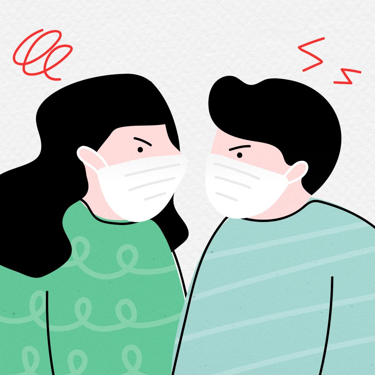 Unhappy couple during the coronavirus pandemic mockup