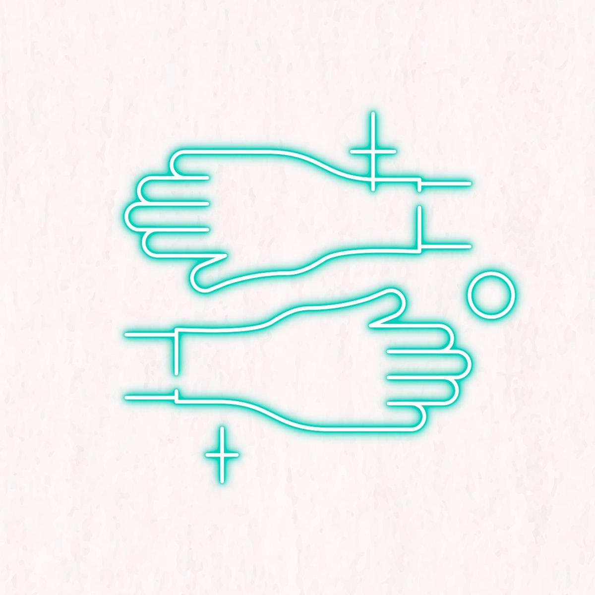 Clean your hands to prevent coronavirus neon sign vector