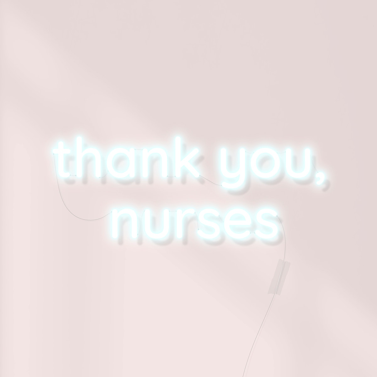 Thank you nurses for working to fight covid-19 neon sign vector