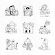 Social issues during the coronavirus crisis doodle element set vector