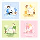 Work from home covid-9 awareness set vector