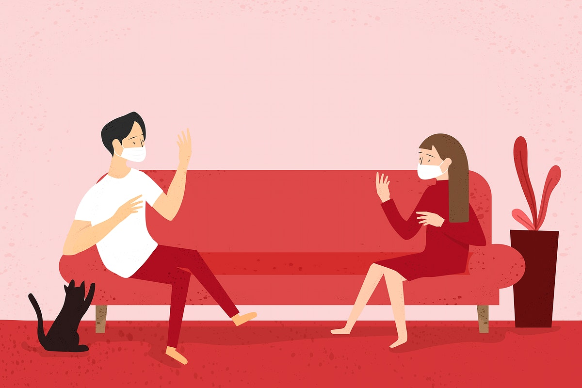 Couple wearing masks and keeping a physical distance in their own home vector
