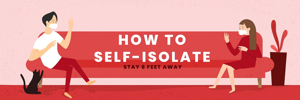 How to self-isolate during coronavirus pandemic social template vector
