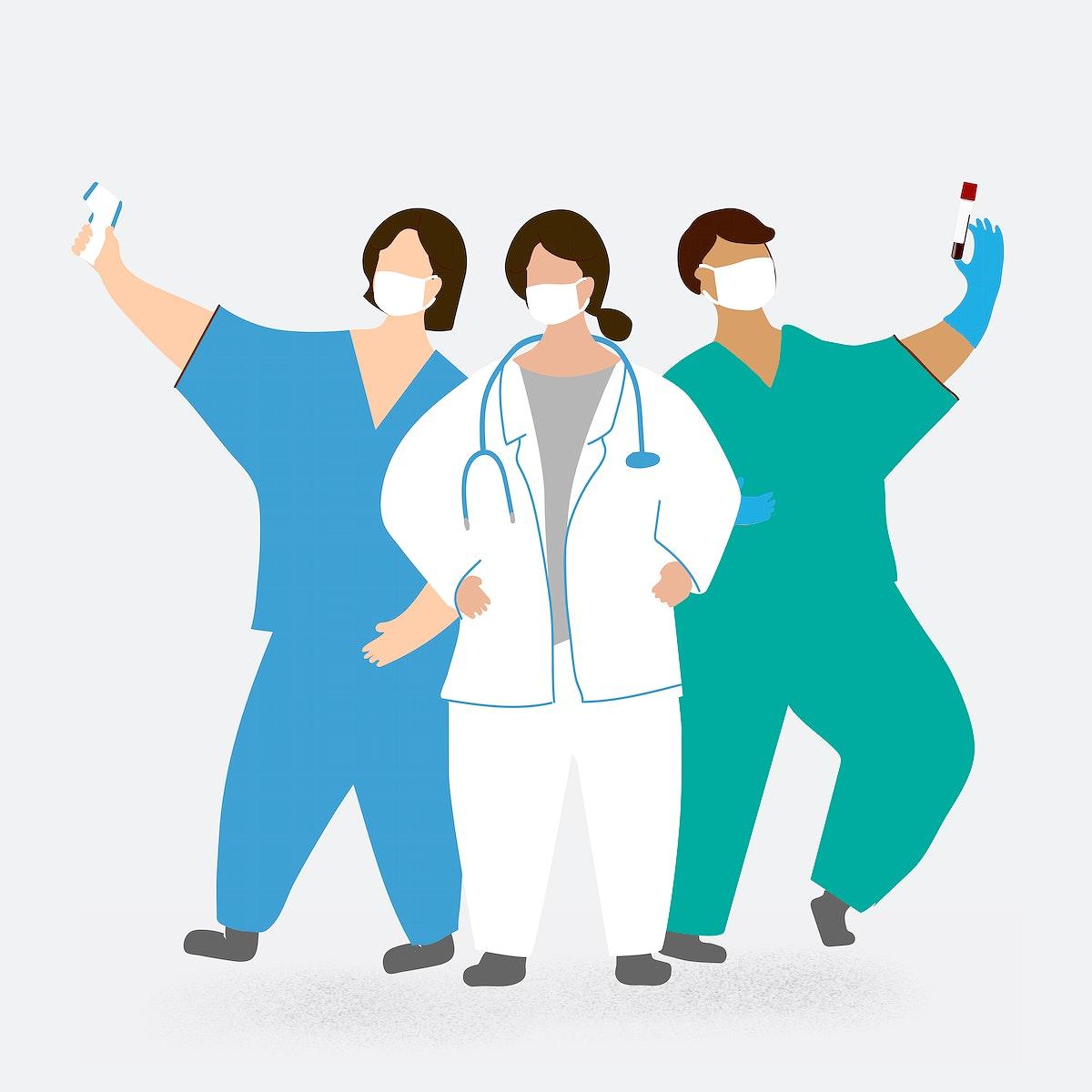 Coronavirus medical staff character element vector