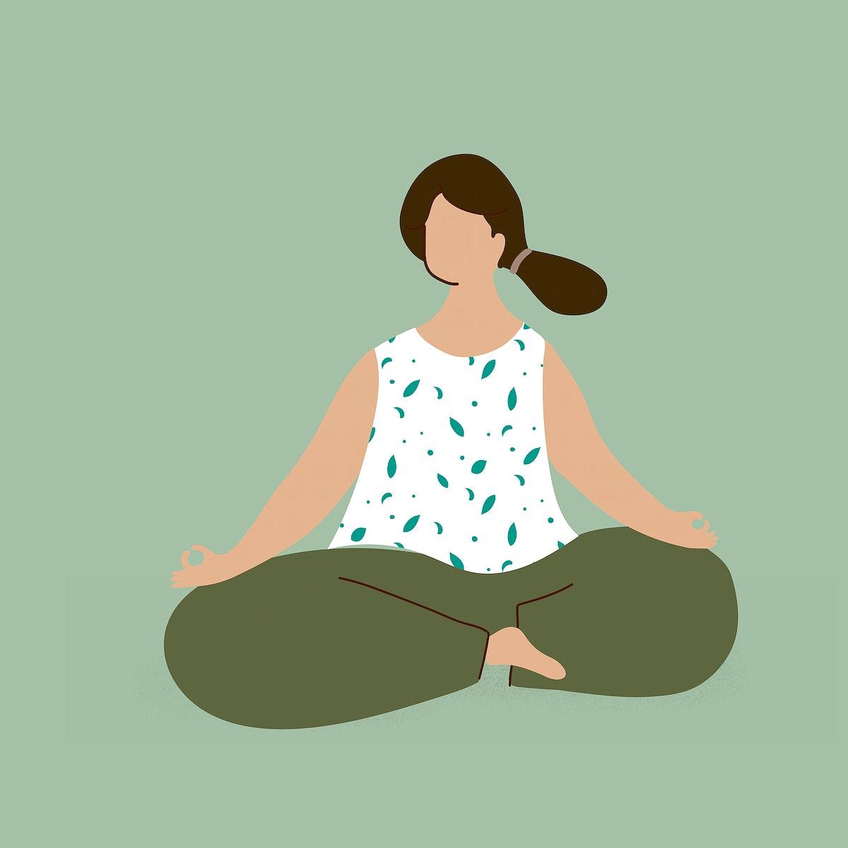 Woman meditating during coronavirus quarantine character element vector