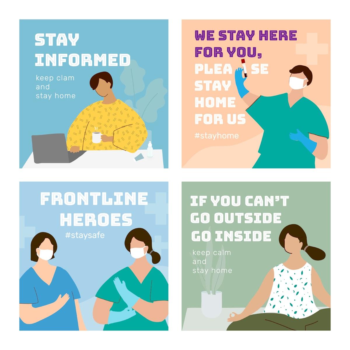 Coronavirus pandemic social template set vector
