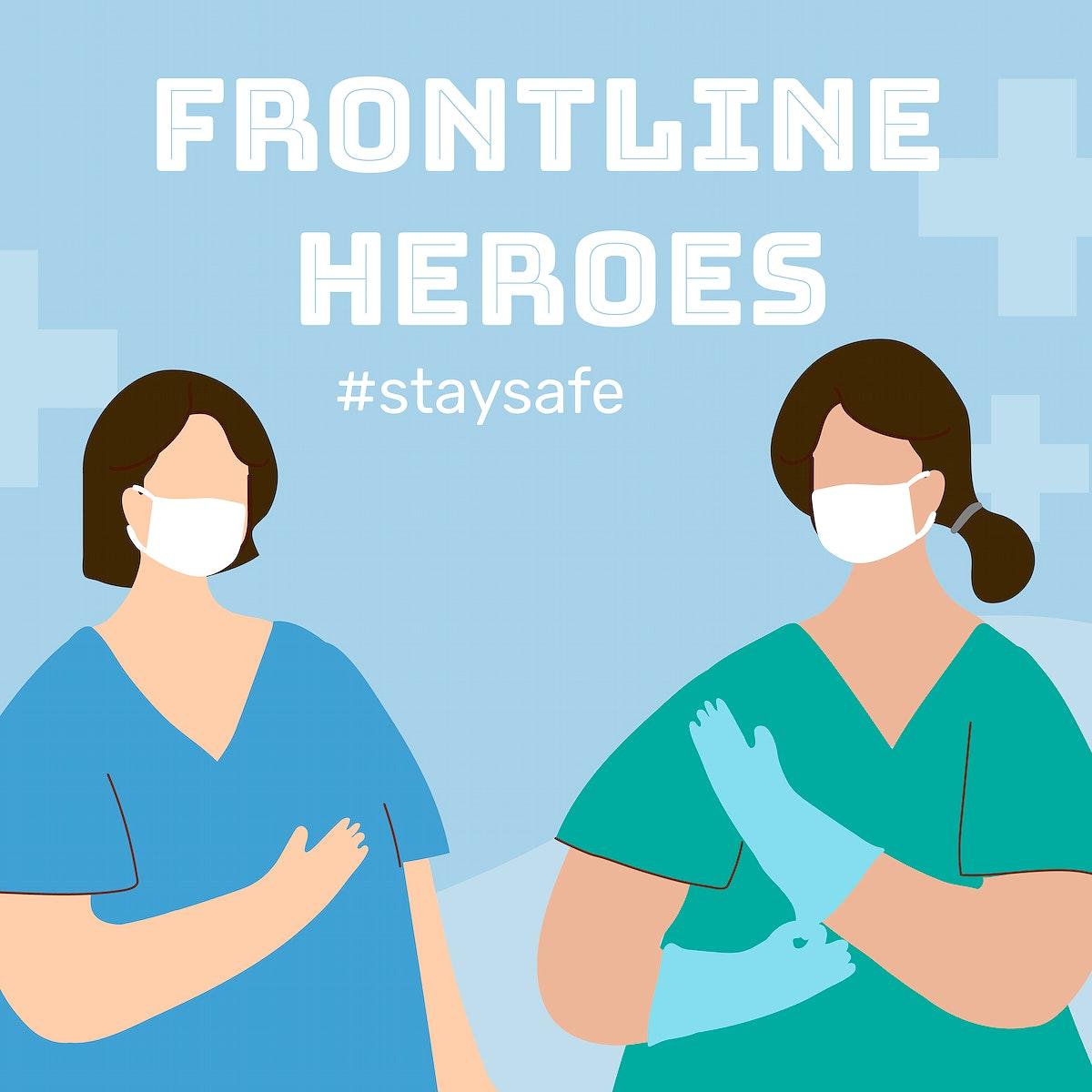 Frontline heroes during coronavirus pandemic social template vector