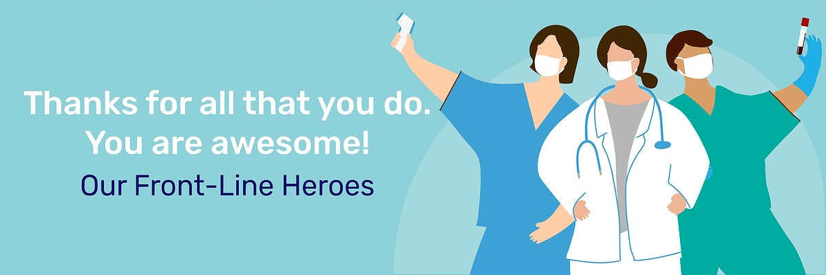 Thank you front line heroes during coronavirus pandemic social template vector