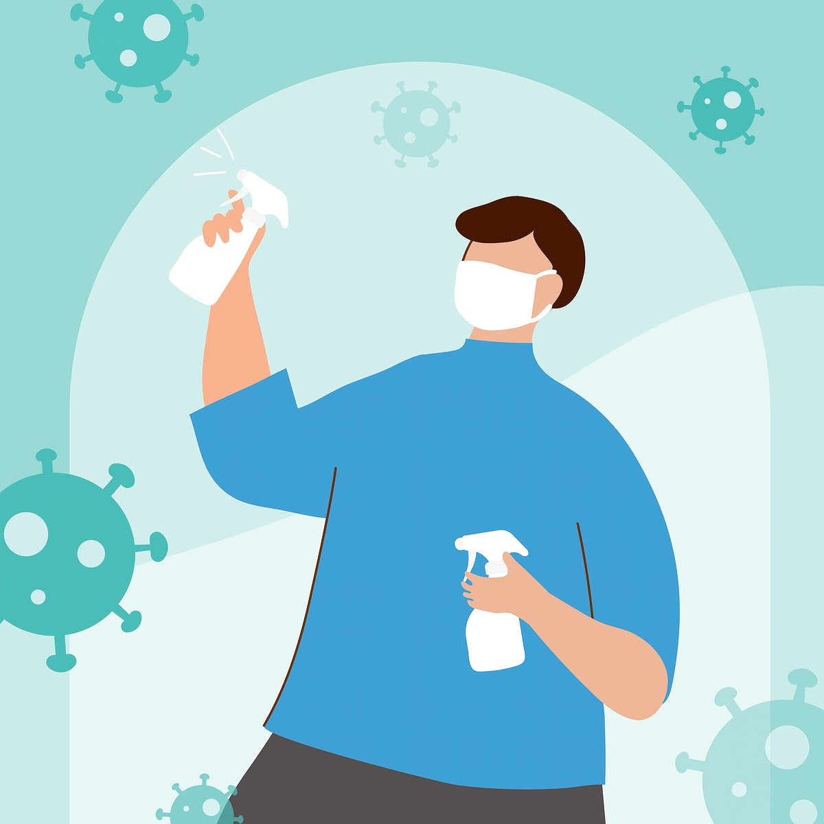 Man spraying alcohol to prevent infection of coronavirus vector