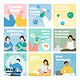 Coronavirus prevention social post set vector