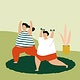 People exercising at home during virus spreading vector