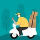 Delivery boy on a scooter with parcel boxes checking customer location map vector