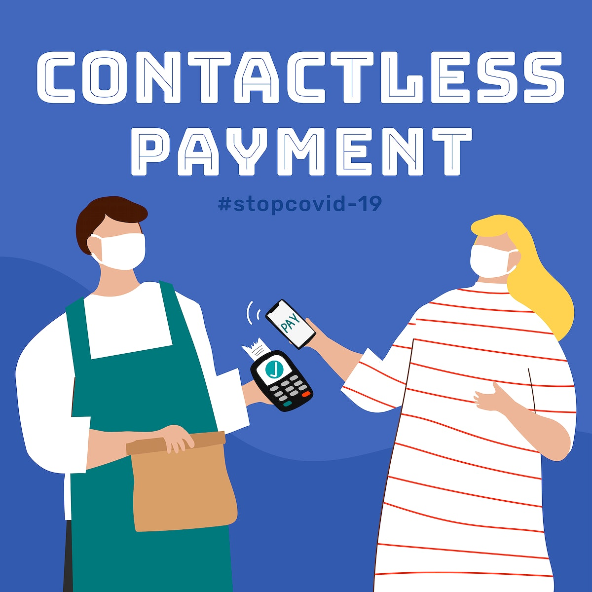 Contactless payment during covid-19 outbreak template vector
