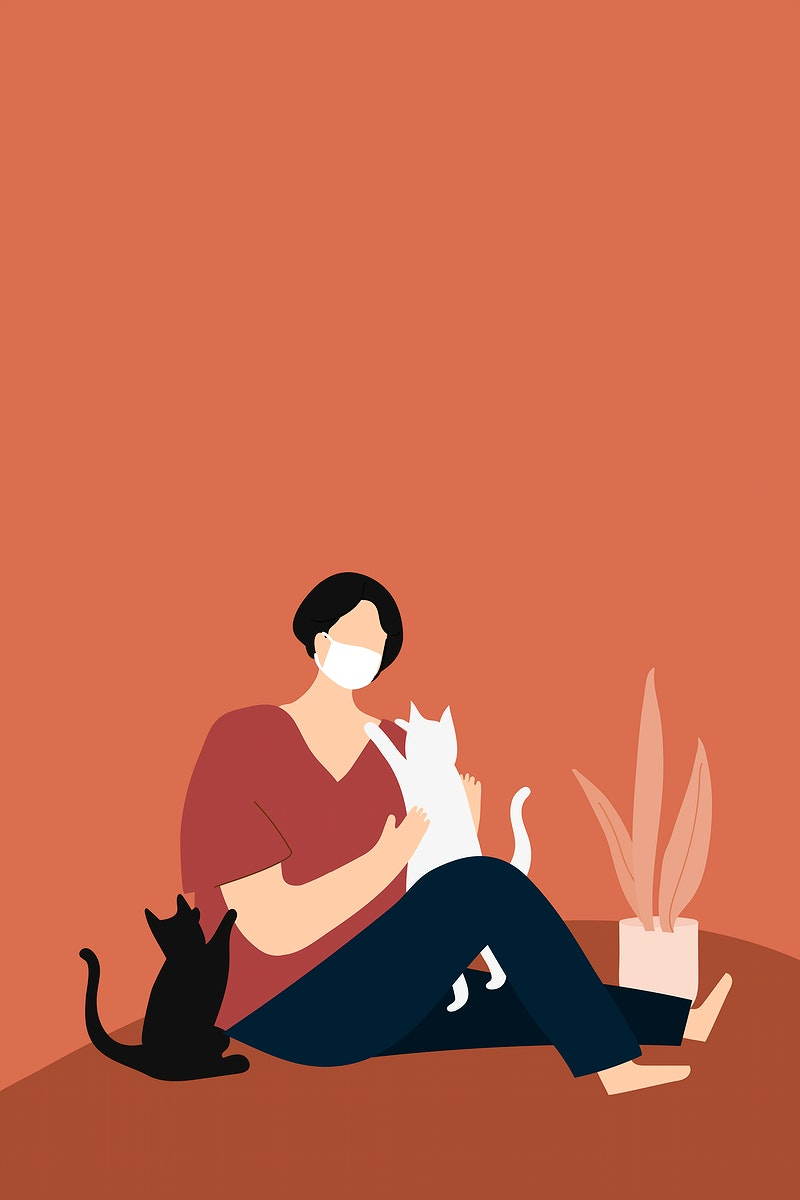 Woman in quarantine playing with her cats vector