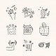 Activities at home doodle style vector set