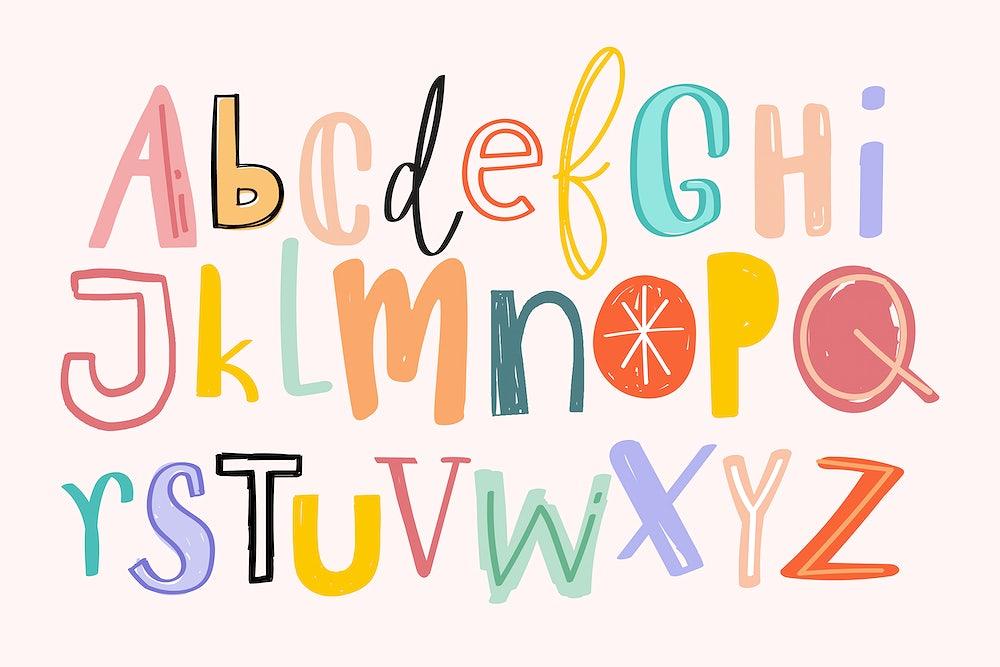 Alphabets hand drawn doodle style set vector