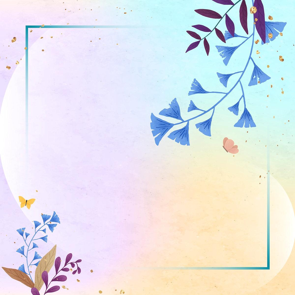Rectangle ginkgo leaf frame vector on colorful background