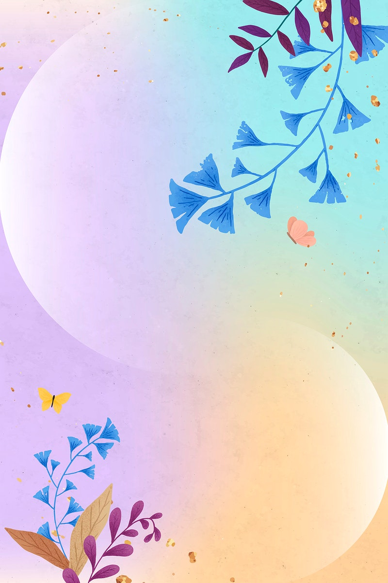 Glitter ginkgo leaves vector frame on colorful background