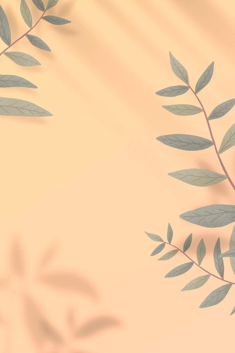 Leaves and shadows frame vector on yellow background