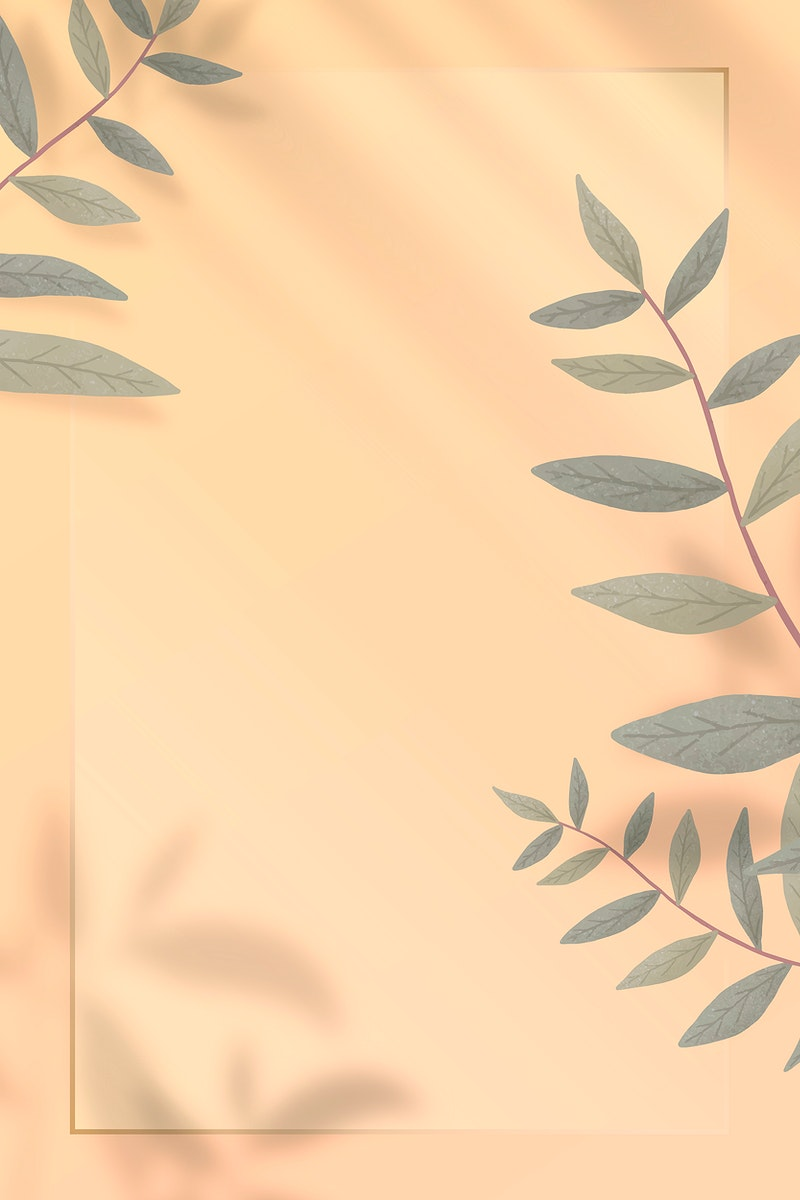 Gold frame with leaves and shadows vector