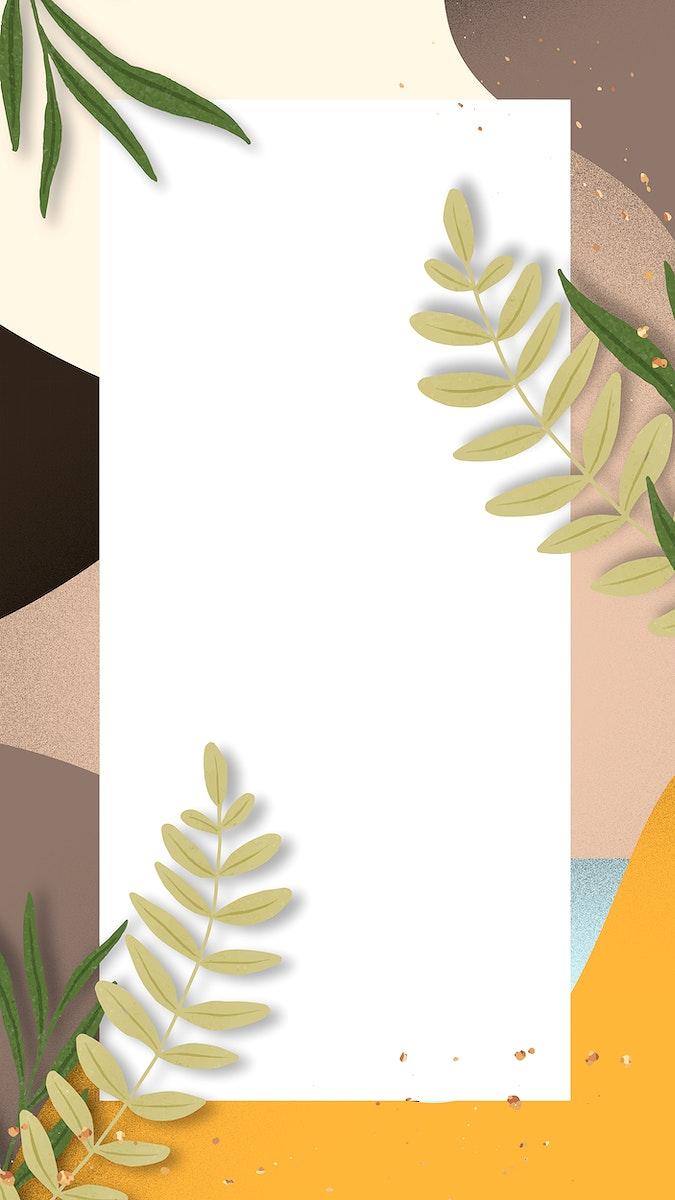 Botanical frame vector on summer background