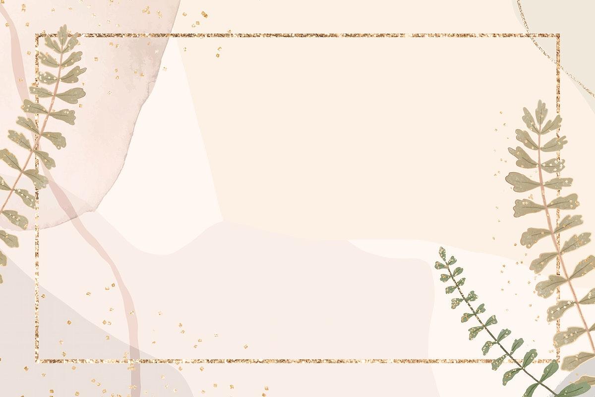 Golden rectangle leaf frame vector on neutral watercolor background