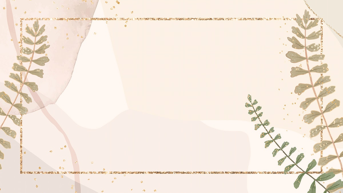 Golden leaves vector frame on brown watercolor background