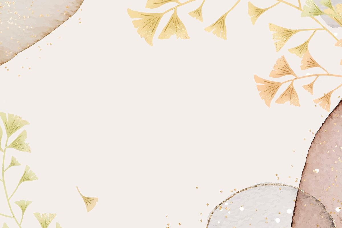 Glitter ginkgo leaf vector frame on neutral background