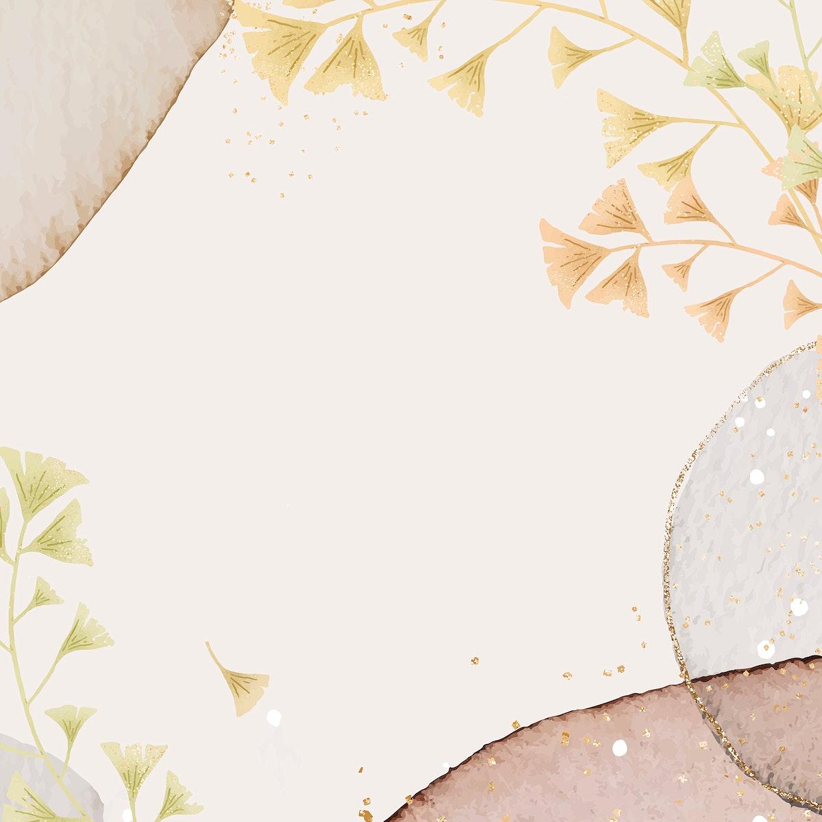 Glitter ginkgo leaves vector frame design