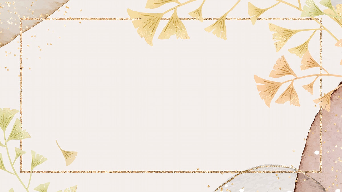 Pink ginkgo leaf frame vector on neutral watercolor