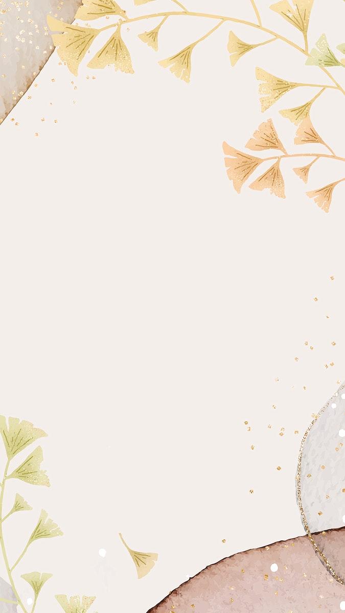 Ginkgo leaves vector mobile phone wallpaper