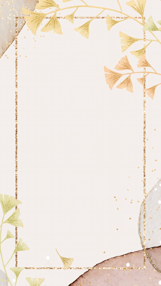 Gold ginkgo leaf frame vector on neutral watercolor