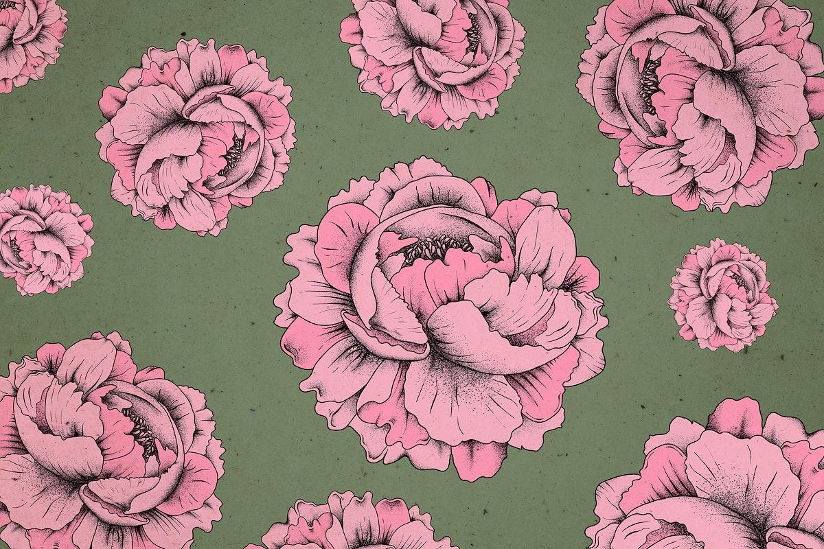 Vintage rose psd pattern mobile phone wallpaper