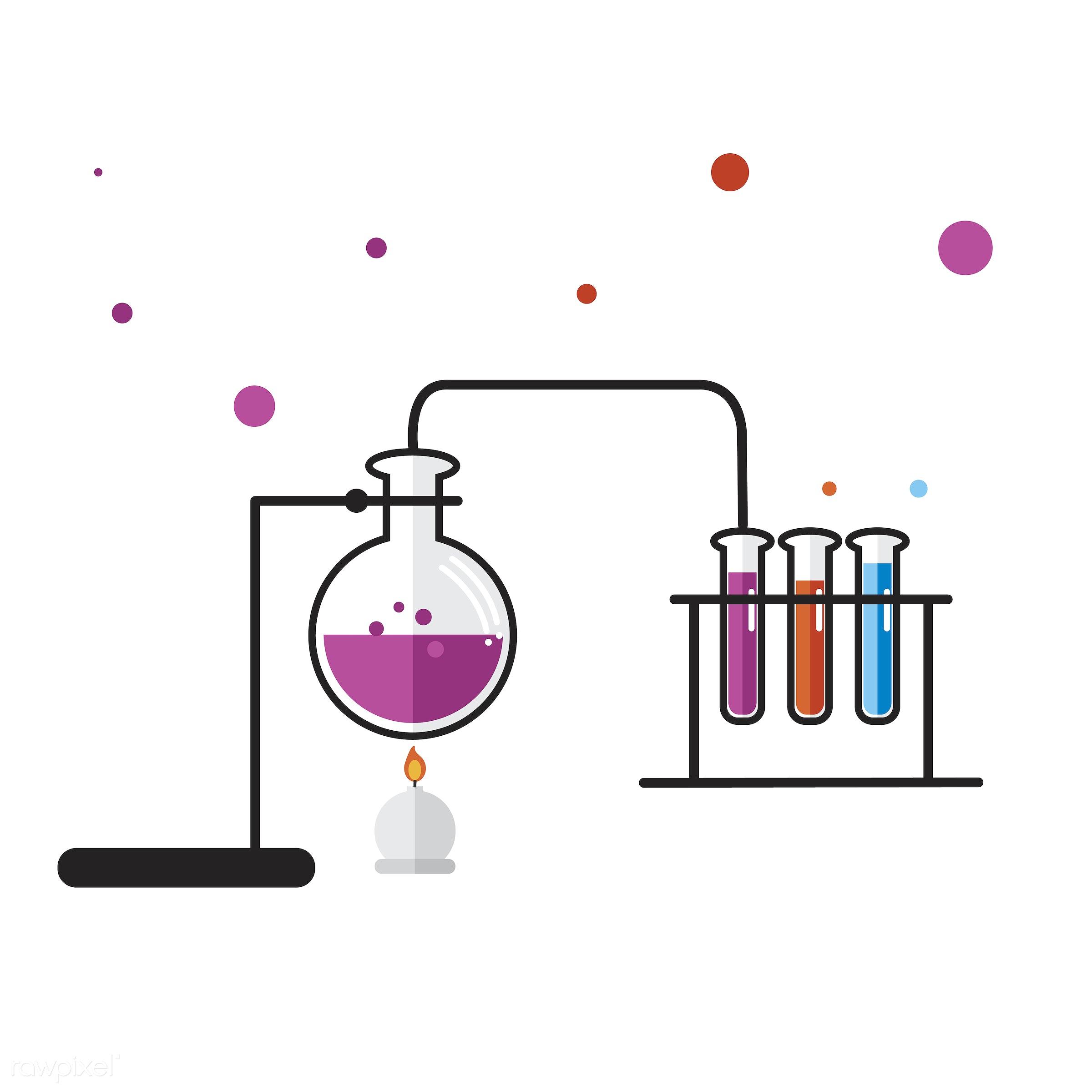 Illustration of chemistry laboratory instruments set - atom, atomic, biology, chemicals, chemistry, class, design, education...