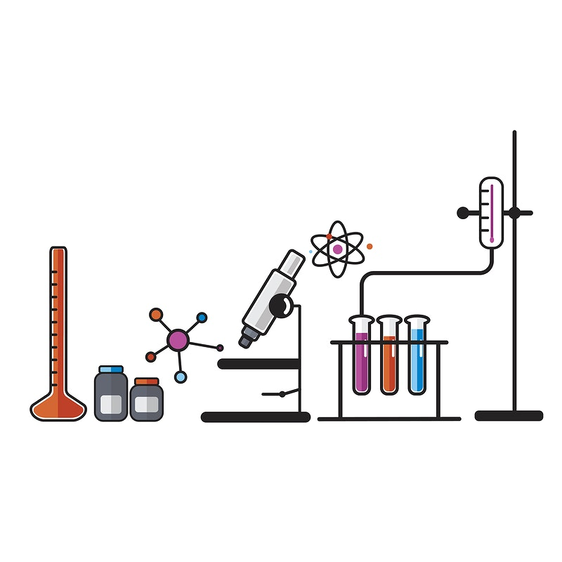 Illustration of chemistry laboratory instruments set by