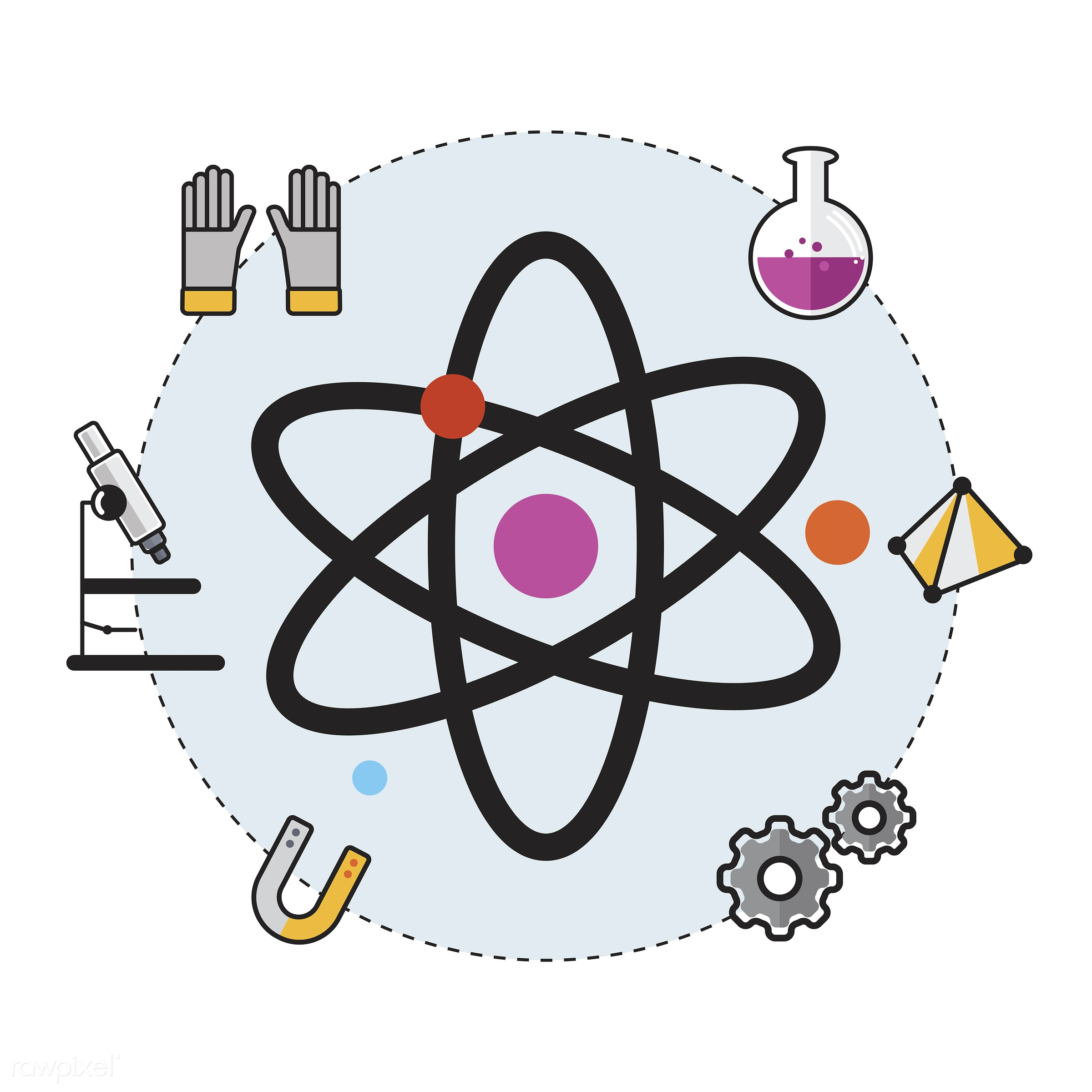 Illustration of  - atom, atomic, biology, chemistry, class, design, education, equipment, experiments, graphic, icon,...