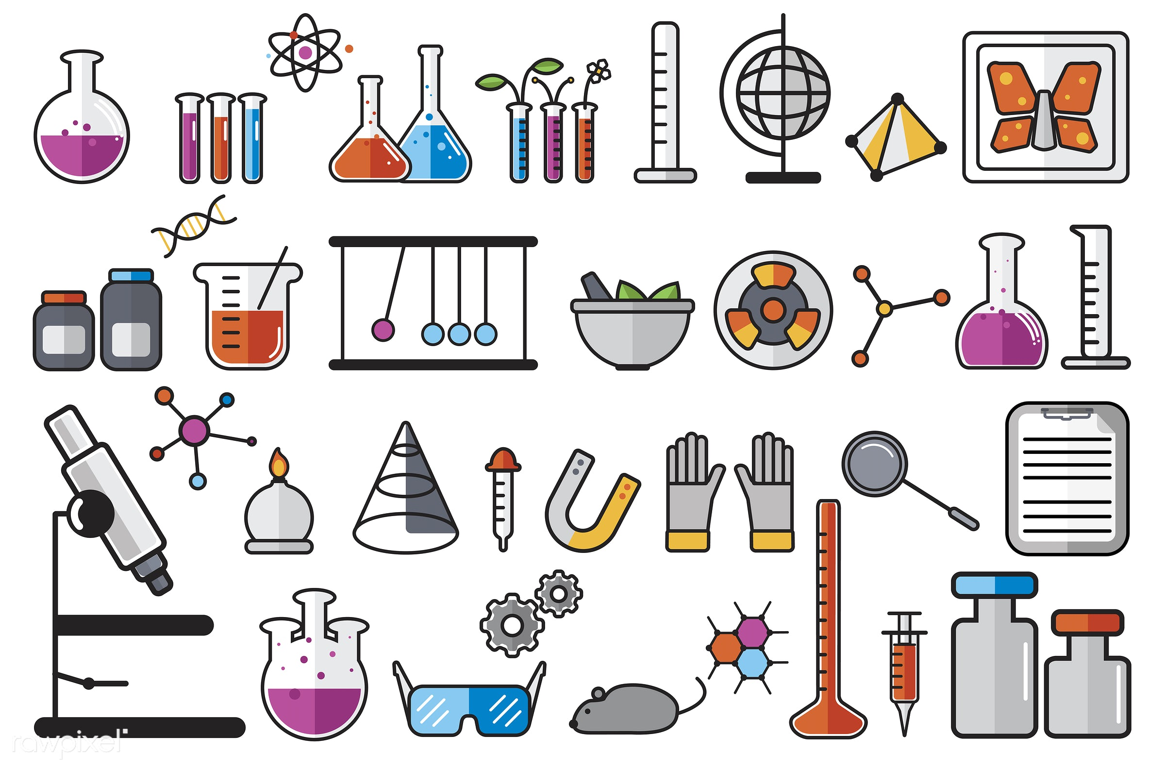 Illustration of chemistry laboratory instruments set - biology, chemistry, class, collage, collection, design, education,...